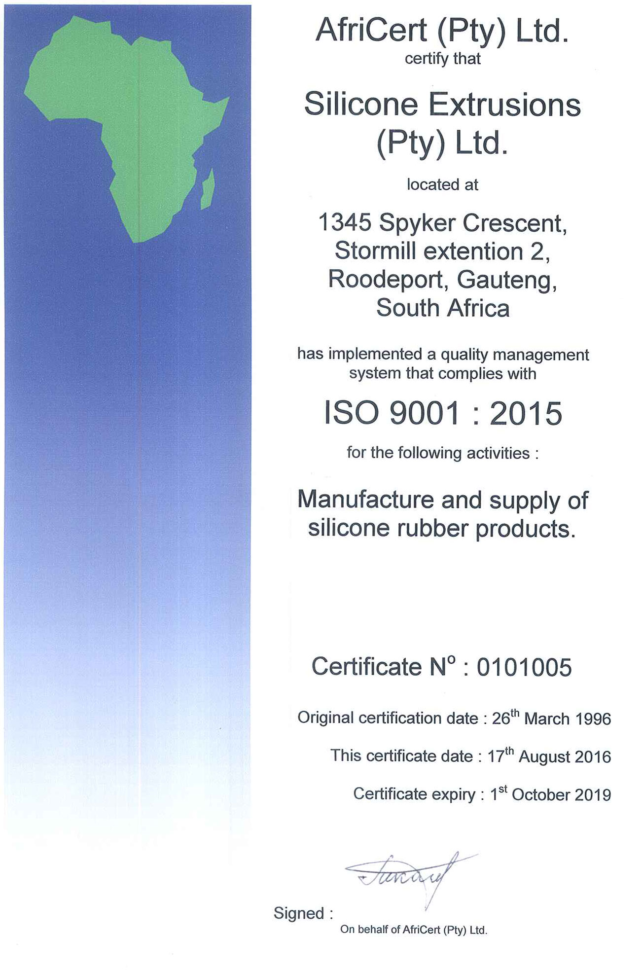 Silex Silicone Extrusions Certificate